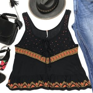 Free People Embroidered Tie Front Top